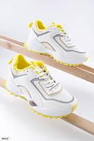 Кроссовки женские белые с желтым эко кожа + текстиль, фото 1