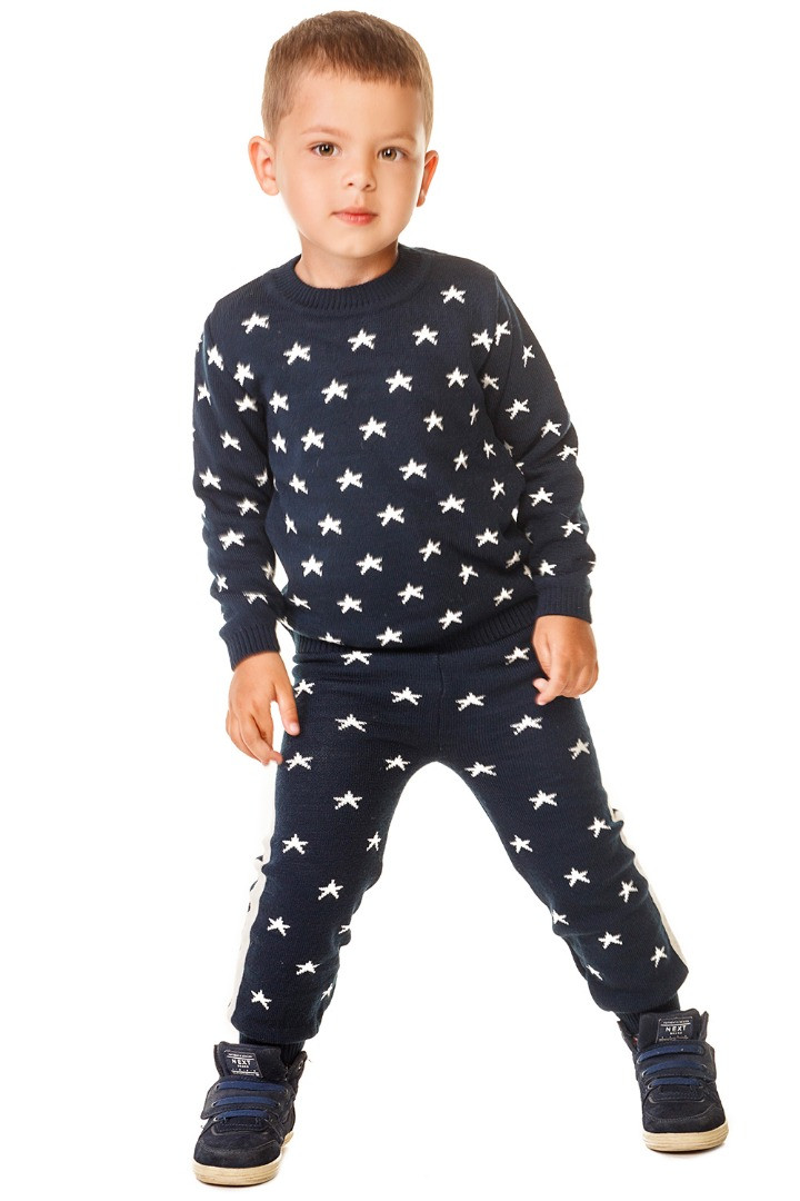 Джемер кофта для мальчика вязаный, синий, 80см