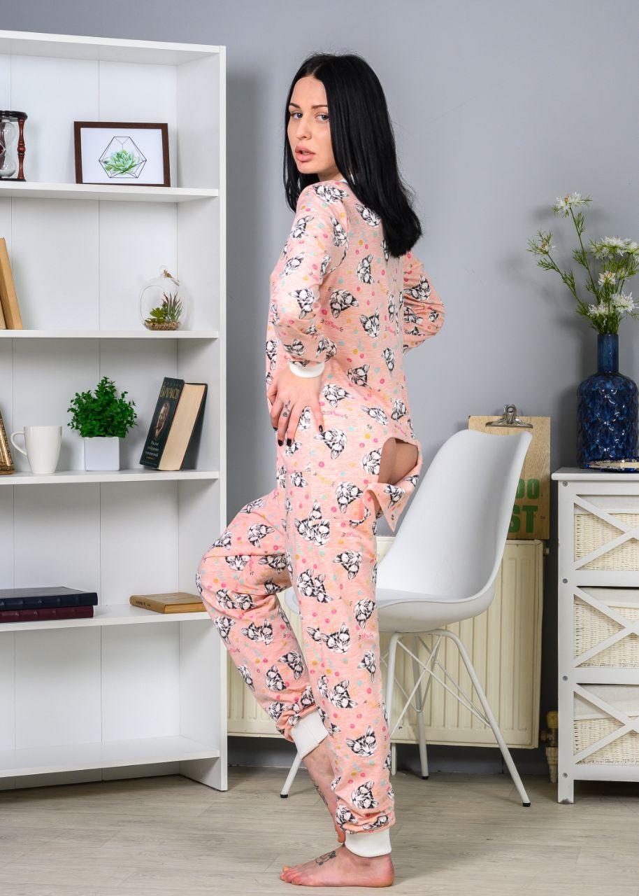 Женская пижама с карманом на попе розовая с котами. Идеальный подарок