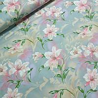 Тик для наперников с крупными лилиями, ширина 220 см, фото 1