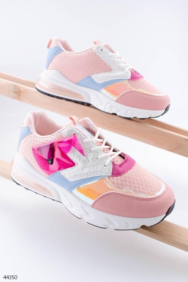 Кросівки жіночі рожеві (пудра) еко-шкіра + текстиль