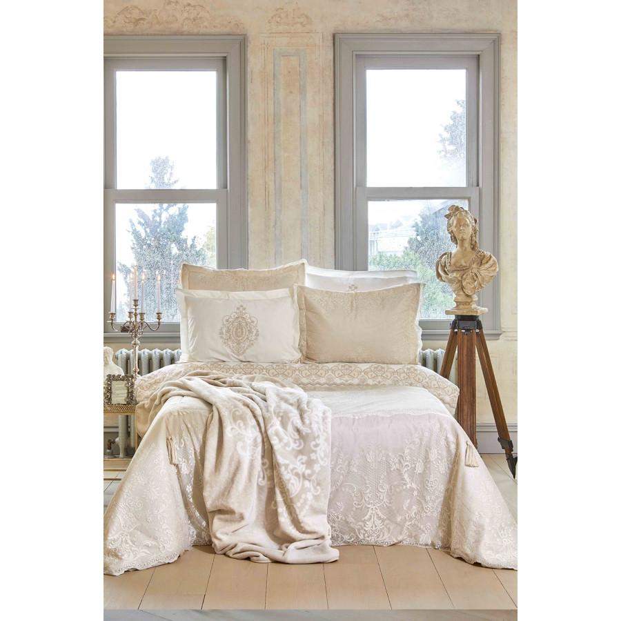 Набор постельное белье с покрывалом + плед Karaca Home - Desire bej 2020-1 бежевый евро