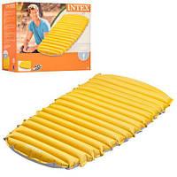 Яркий надувной велюровый матрас Intex 68708 76-183-10 см желтый