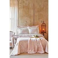 Набор постельное белье с покрывалом + плед Karaca Home - Desire pudra 2020-1 пудра евро