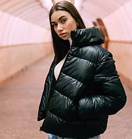Женская куртка дутая короткая демисезонная без капюшона черная Турция. Живое фото. 3 цвета