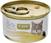 Консерва Brit Care Cat k куриная грудка -сыр 80g    для кошек