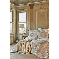 Набор постельное белье с покрывалом + плед Karaca Home - Eldora gold 2020-1 золотой евро