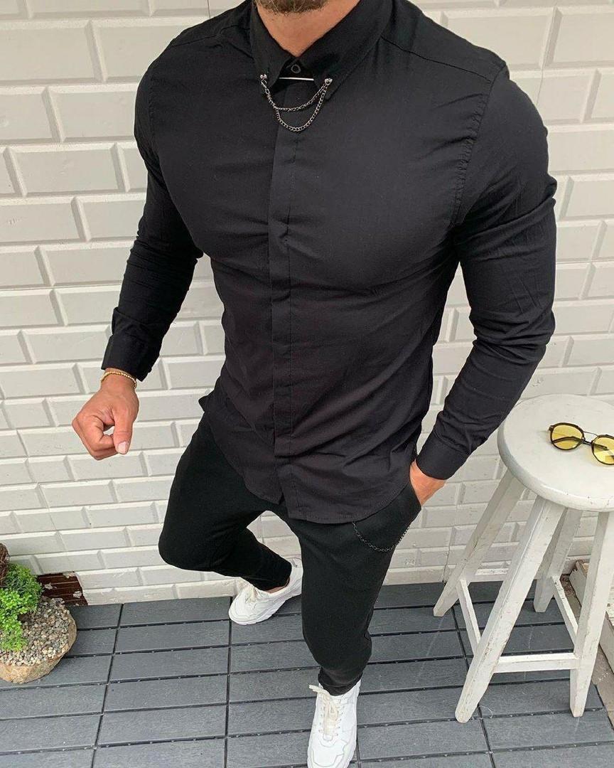 Мужская рубашка черная и белая с брошью СММ r12,r13