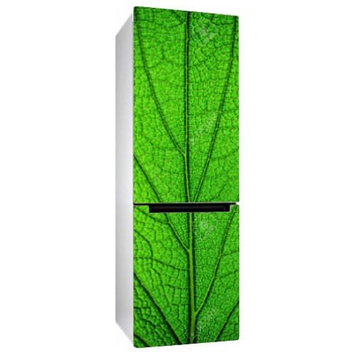 Вінілова наклейка на холодильник Зелений лист дерева плівка на меблі макро трава глянсова 650*2000 мм