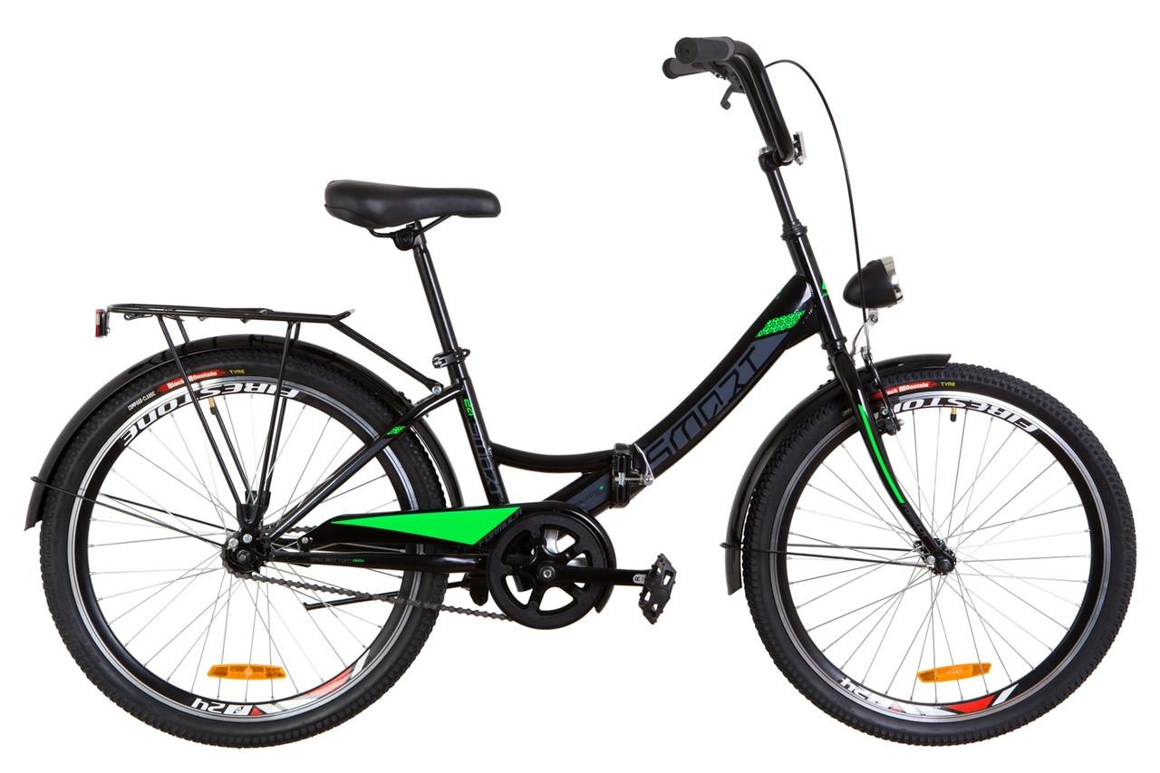 """Велосипед 24"""" Formula SMART 14G гальмівна St з багажником зад St, з крилом St, з ліхтарем 2019 (чорно-салатний)"""