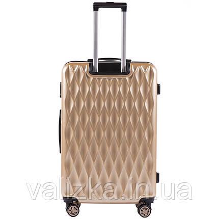 Большой чемодан из поликарбоната премиум серии на 4-х двойных колесах золотистого цвета, фото 2