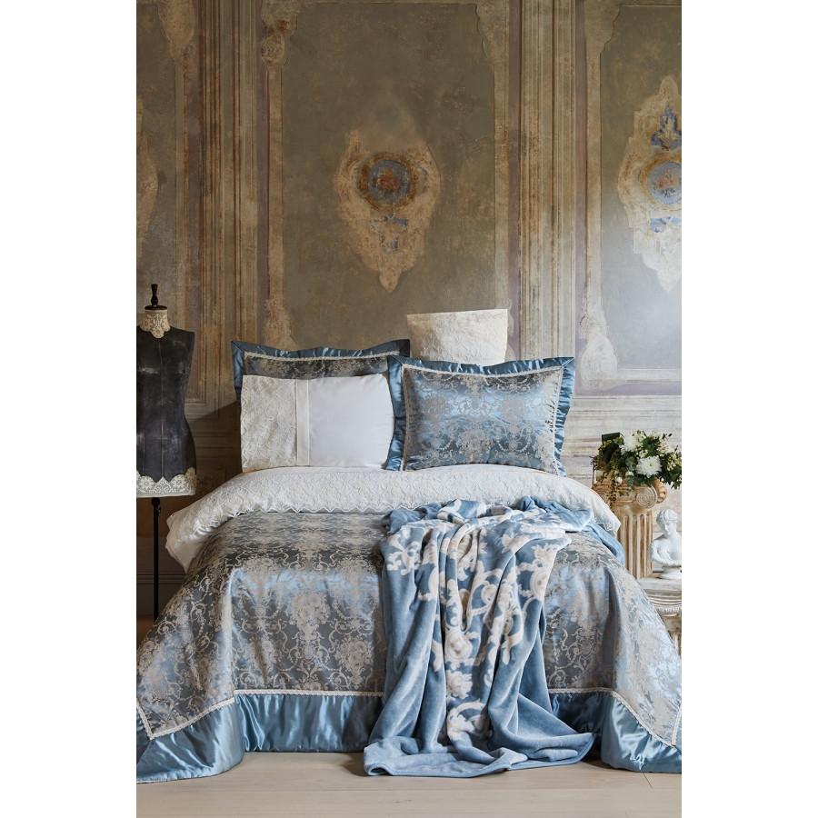 Набор постельное белье с покрывалом + плед Karaca Home - Trella mavi синий евро