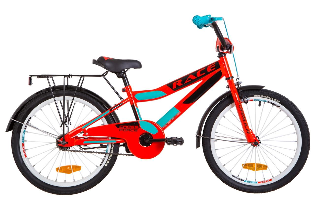 """Велосипед 20"""" Formula RACE MC посилено. St з багажником зад St, з крилом St 2019 (чорно-оранжевий з синім (м))"""
