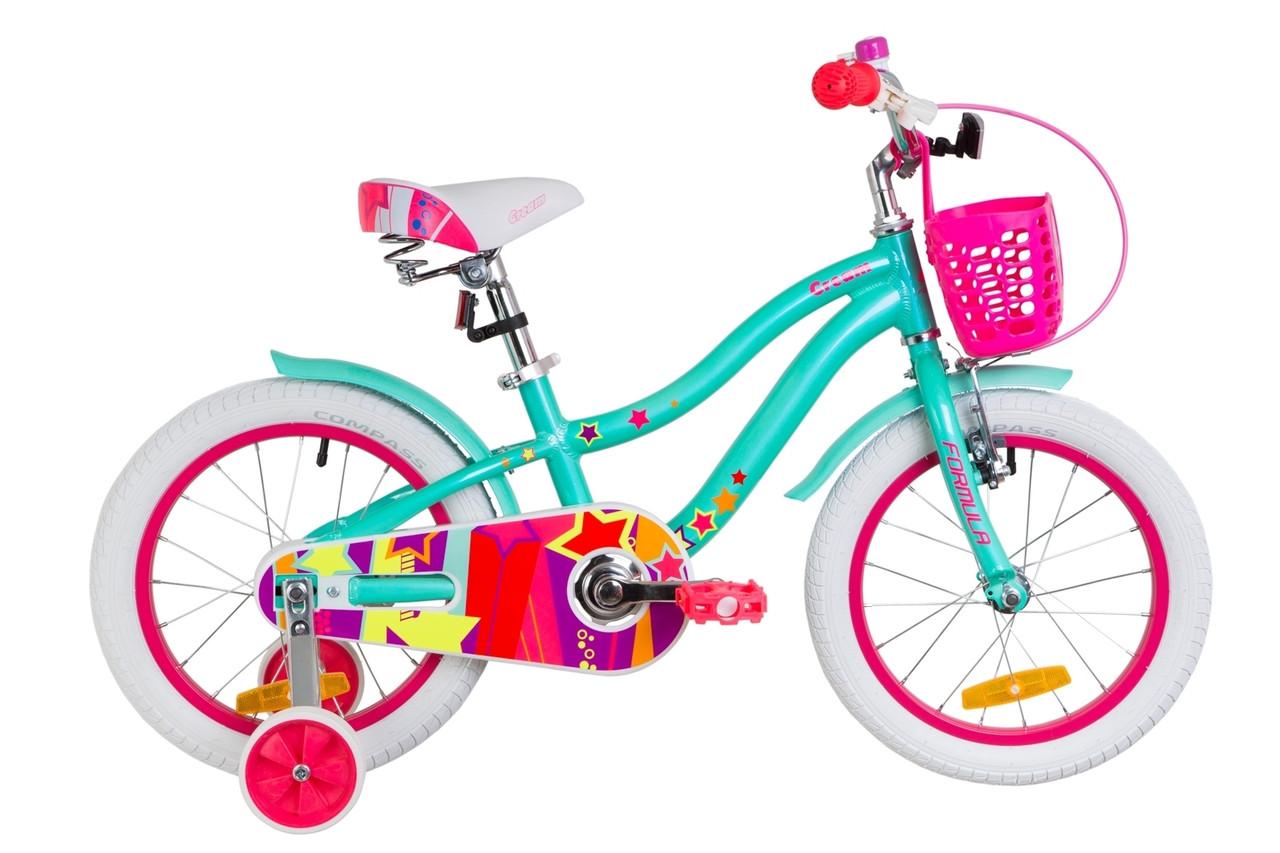 """Велосипед 16"""" Formula CREAM 14G Al с крылом St, с корзиной Pl 2019 (бирюзовый)"""