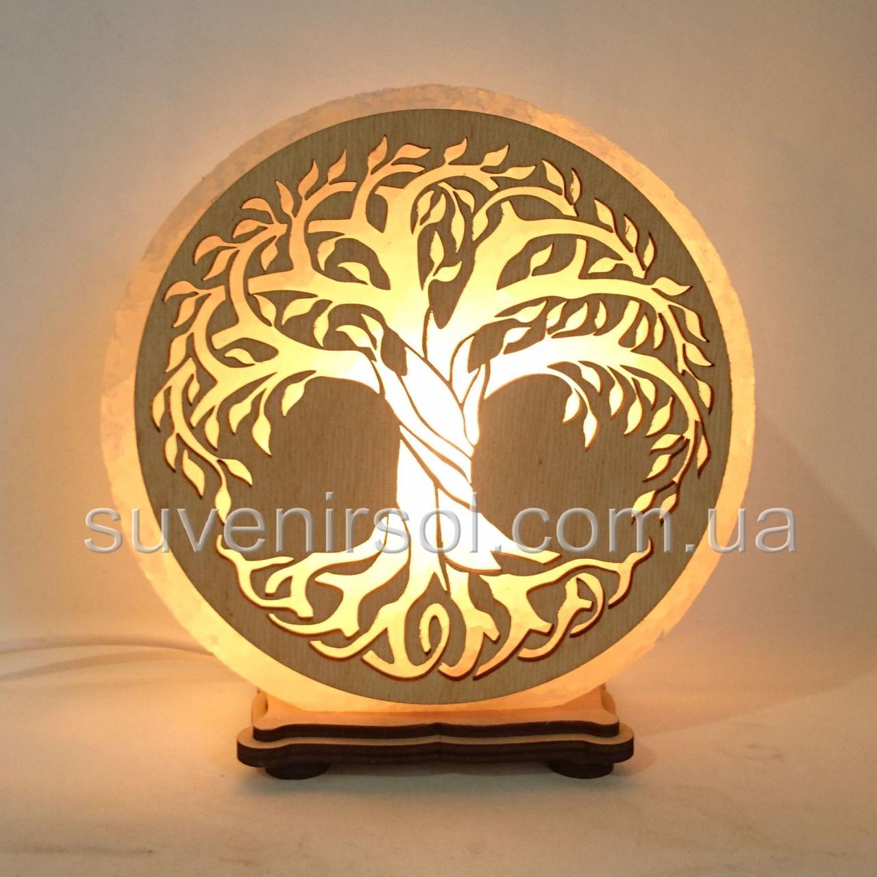 Соляной светильник круглый Дерево жизни 2