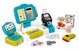 Касса Smoby детская интерактивная выдает чек с дисплеем голубая XL Cash Register 350105