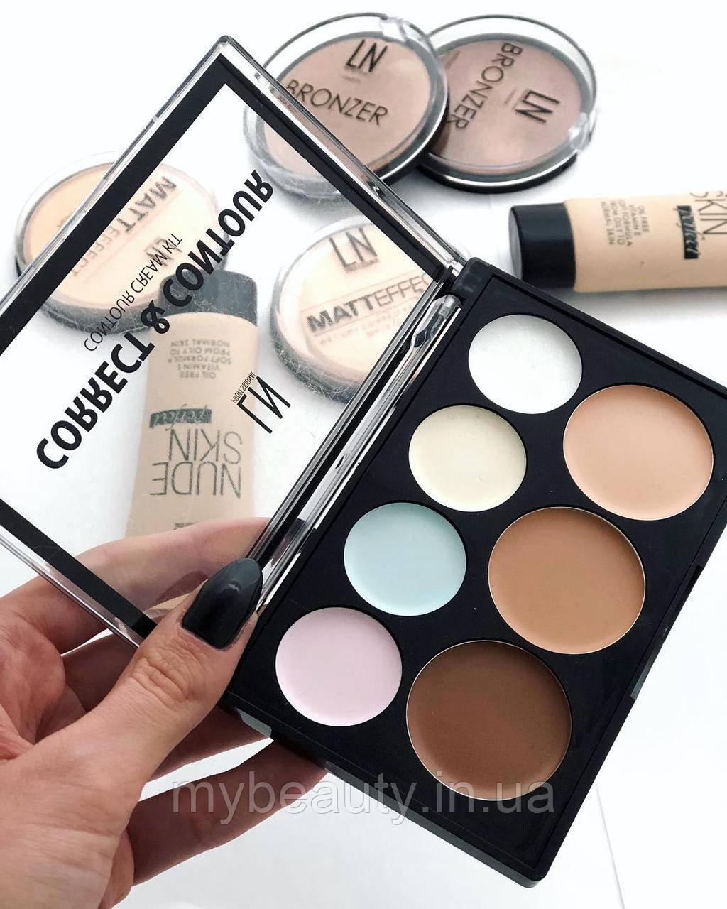 Набор для макияжа Корректоры контуринг для лица LN Professional Correct & Contour Cream Kit