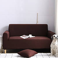 Чехол на диван универсальный для мебели цвет коричневый 140-175см  Код 14-0558