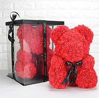 Мишка из 3D роз 25см в красивой подарочной упаковке мишка из роз оригинальный подарок на 14 февраля