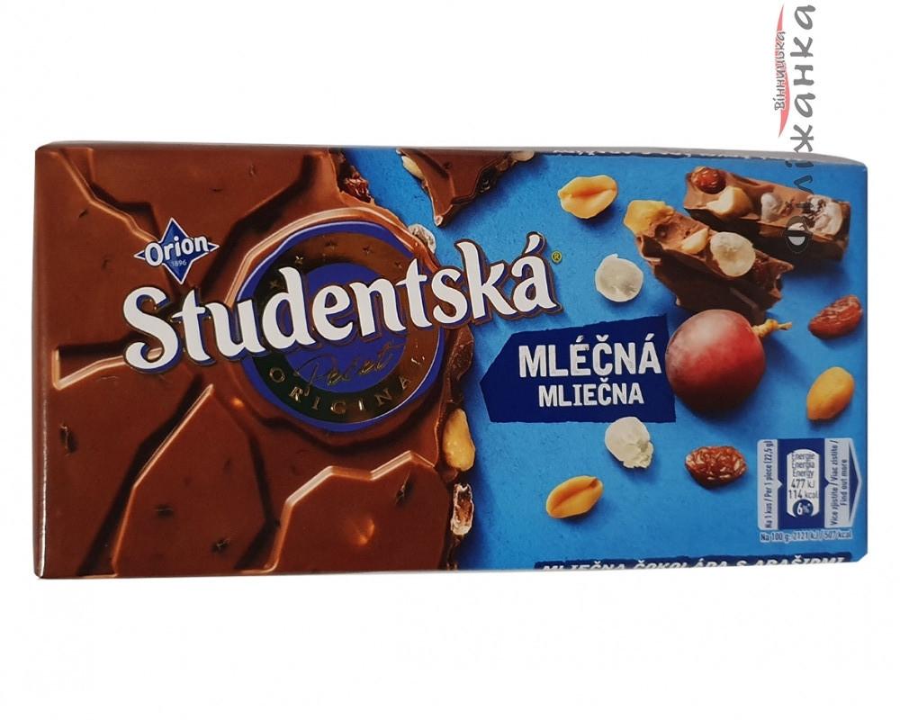 Шоколад молочный с арахисом и изюмом Studentska Mlecna, 180г Чехия