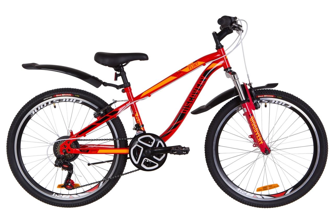 """Велосипед 24"""" Discovery FLINT AM 14G Vbr St с крылом Pl 2019 (красно-оранжевый)"""