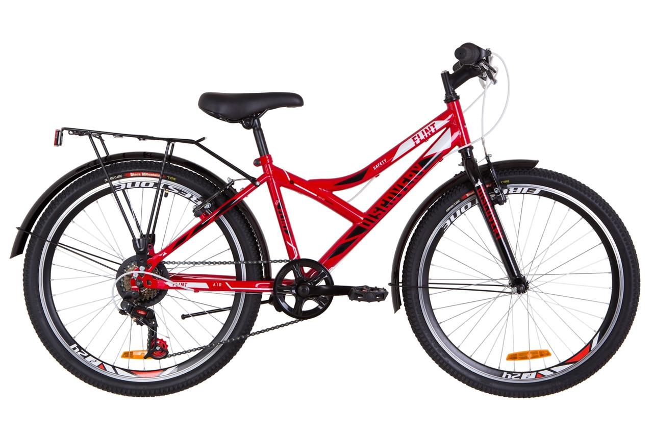 """Велосипед 24"""" Discovery FLINT MC 14G Vbr St з багажником зад St, з крилом St 2019 (червоно-білий з чорним)"""