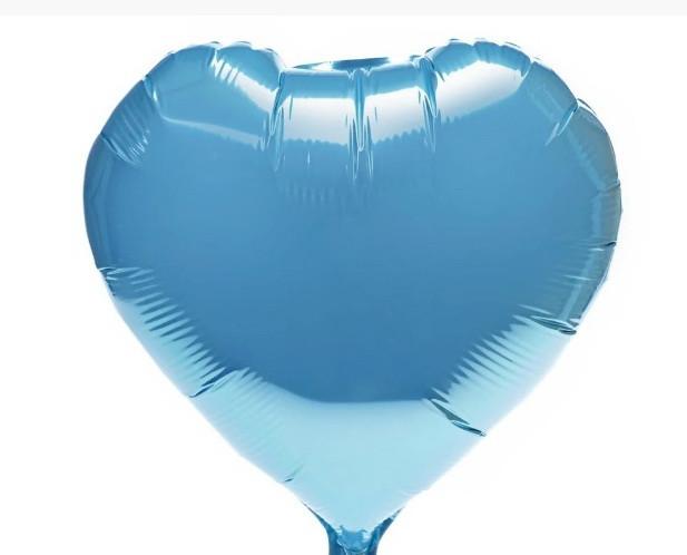 "Фольгована кулька серце блакитний сатин 18"" Китай"