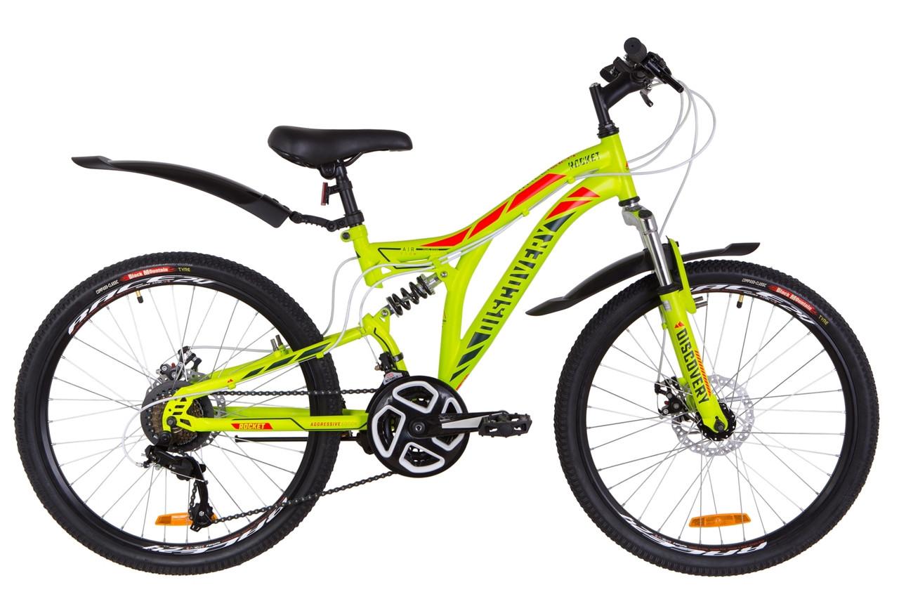 """Велосипед 24"""" Discovery ROCKET AM2 14G DD St с крылом Pl 2019 (зелено-красный (м))"""