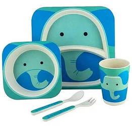 Набор детской бамбуковой посуды Stenson MH-2770-26 5 предметов, слоник