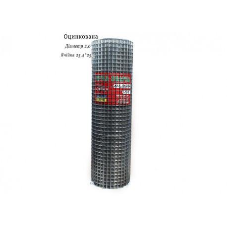 Сетка сварная оцинкованная 25.4х25.4 Ø1,8 высота 1м длина 15м
