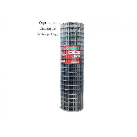 Сетка сварная оцинкованная 50,8х25,4 Ø1,8 высота 1м длина 15м