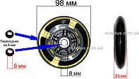 Колесо 98 мм. полиуретан (прозрачное)