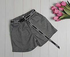 Классические шорты с поясом принт гусиные лапки на девочку S-XL р