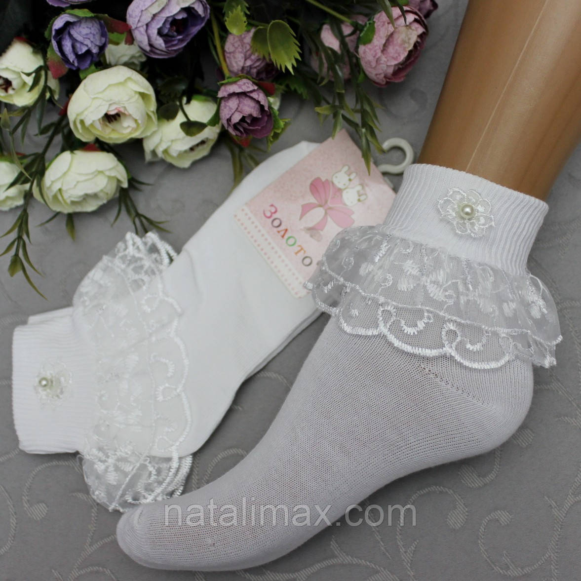 Носки белые для девочек , размер 18-20 см (по длине стопы).  Нарядные белые носочки с кружевной оборочкой