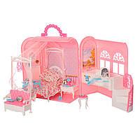 Мебель для кукол 9988Спальня с ванной комнатойимебелью складывается в чемодан
