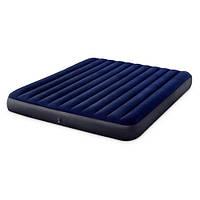 Велюр матрас Intex 64755 183-203-25 см синий надувной двухспальный качественный
