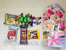 Сладкий подарок из конфет, Весенний букет, в подарочной коробке