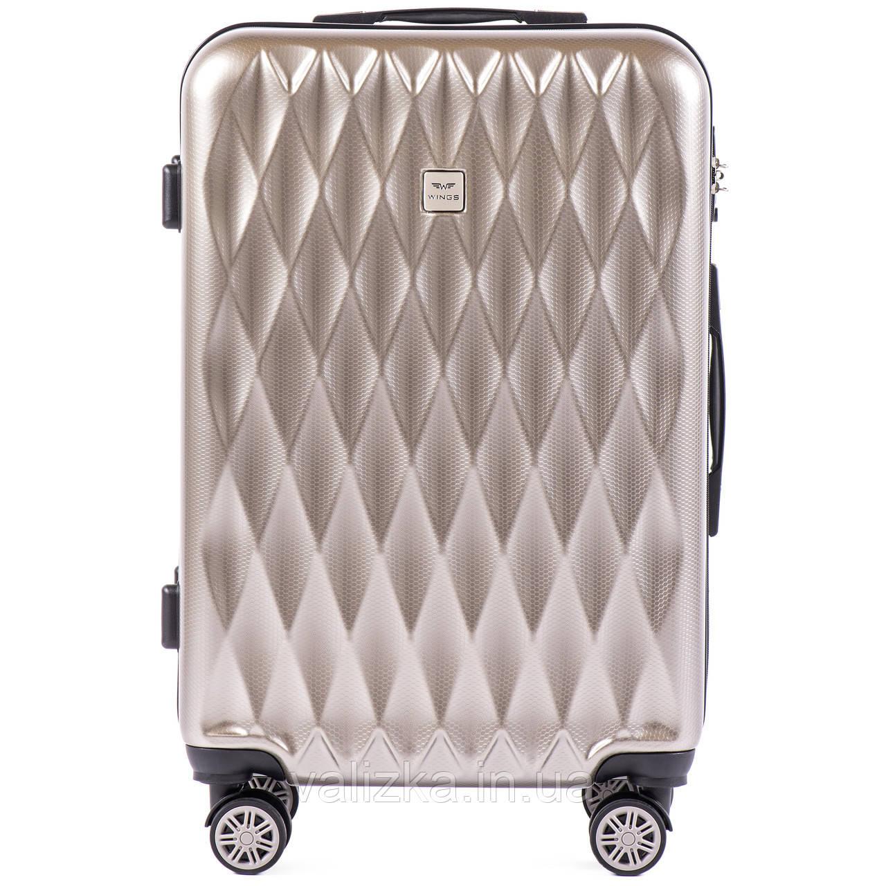 Средний чемодан из поликарбоната премиум серии для ручной клади на 4-х двойных колесах серебристый
