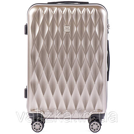 Средний чемодан из поликарбоната премиум серии для ручной клади на 4-х двойных колесах серебристый, фото 2