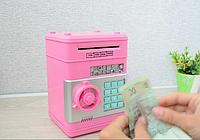 Электросейф копилка с кодовым замком для купюр и мелочи, розовый цвет / Сейф копилка
