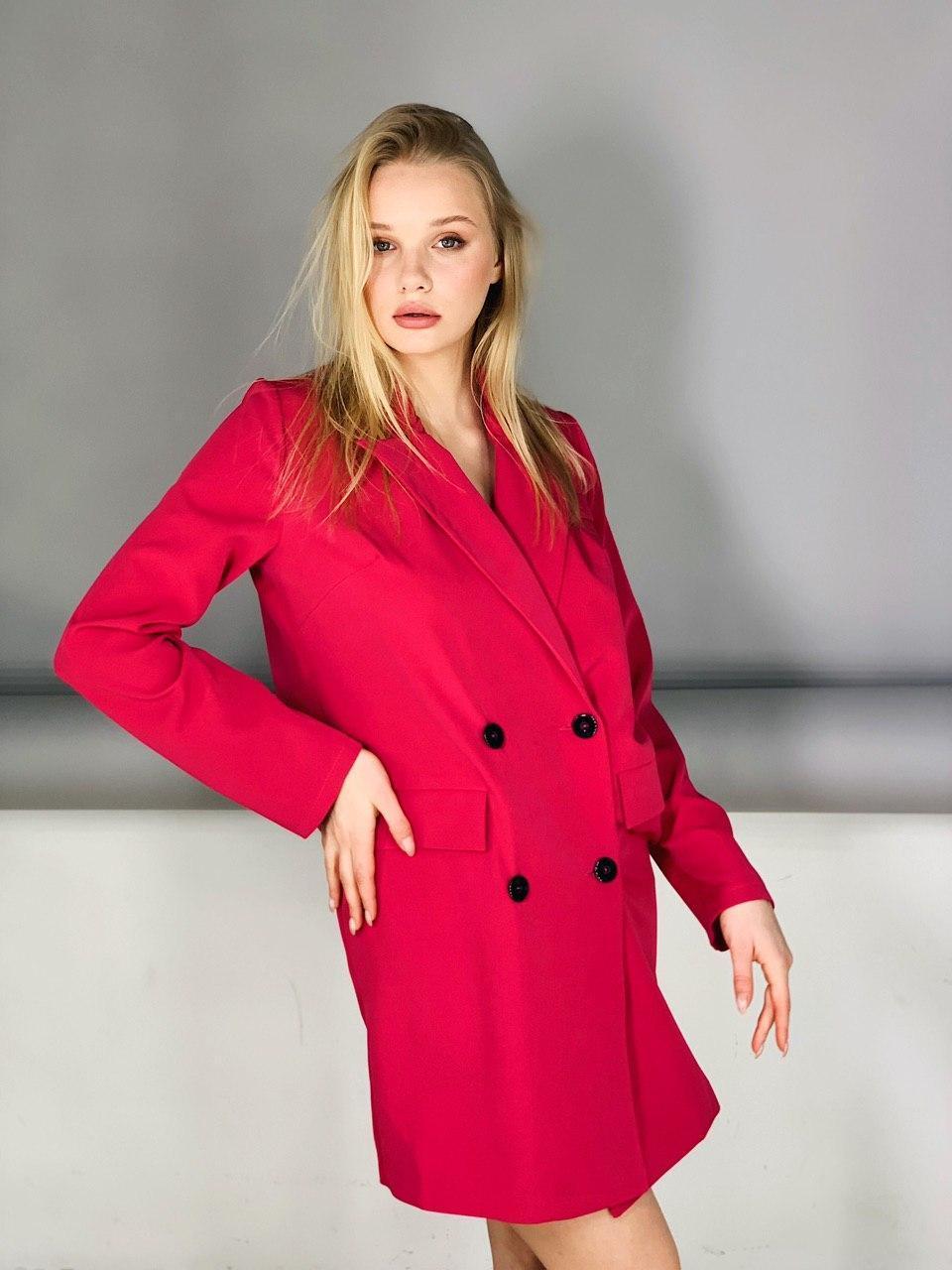 Платье-пиджак розовое