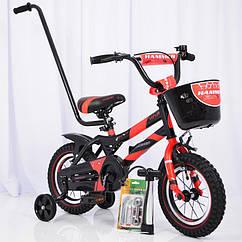 Детский двухколесный велосипед с ручкой HAMMER S500 12 дюймов красный