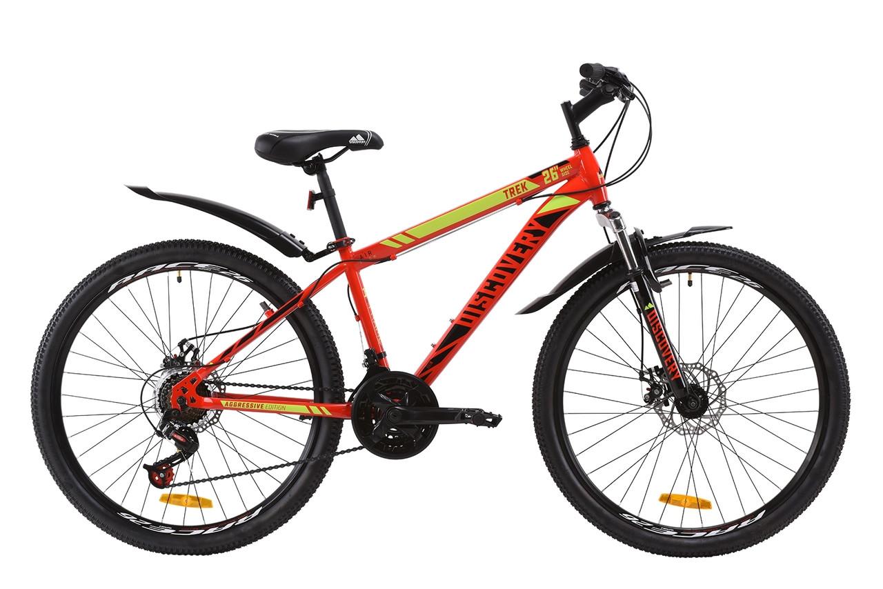 """Велосипед ST 26"""" Discovery TREK AM DD с крылом Pl 2020 (красно-черный с салатовым)"""