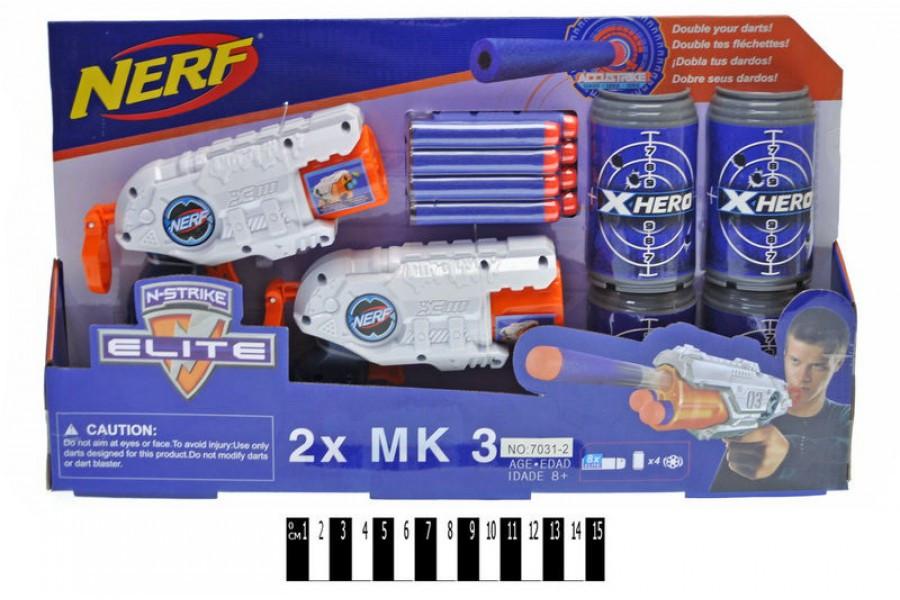 """Набір Бластерів нерф з мішенню, паралоновые кулі, дві автоматичн """"NERF"""" з поролоновими кулями 7031-2"""