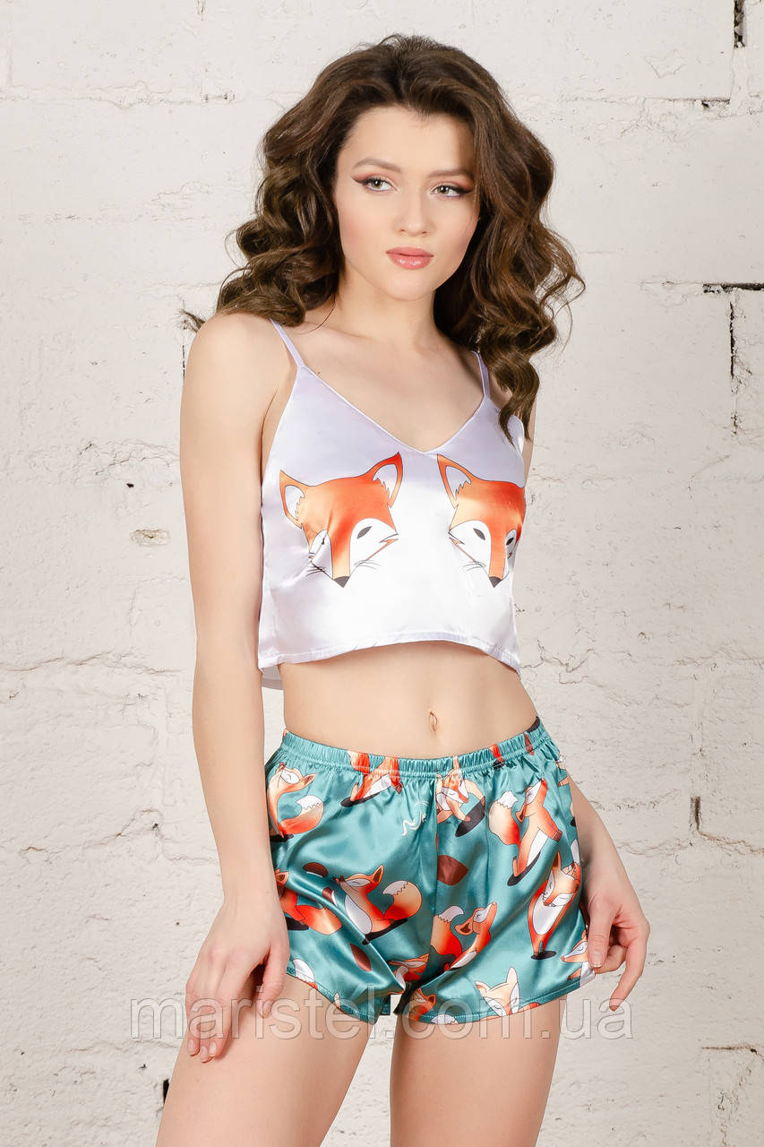 Шелковая пижама  с лисичками   001