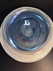 Тарелка стеклянная обеденная прозрачно-синяя Океан 31 см арт. 16112-13