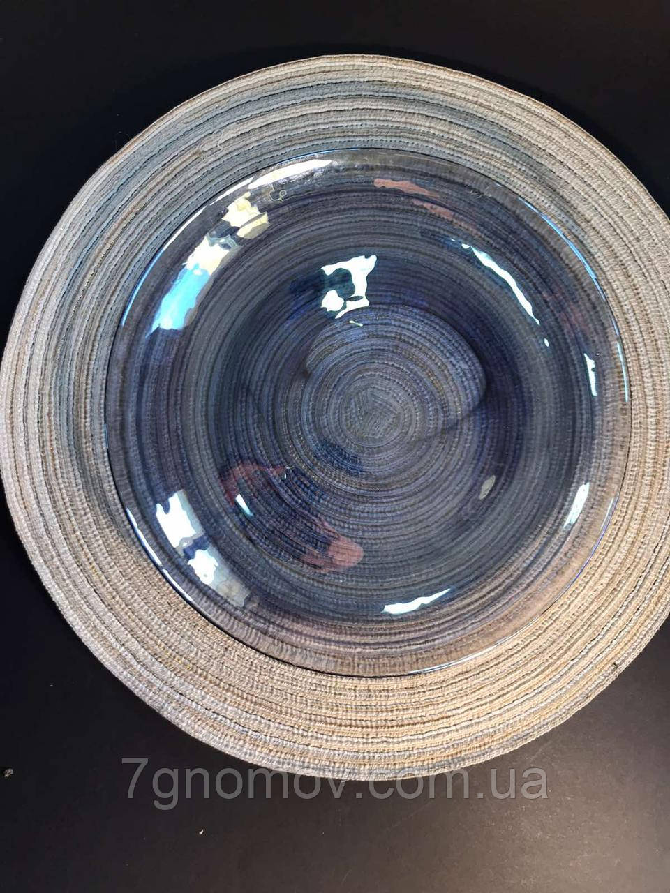 Набор 6 стеклянных обеденных тарелок прозрачно-синий Океан 27 см арт. 16112-14 - фото 2
