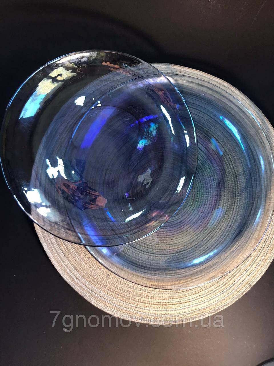 Набор 6 стеклянных обеденных тарелок прозрачно-синий Океан 27 см арт. 16112-14 - фото 3