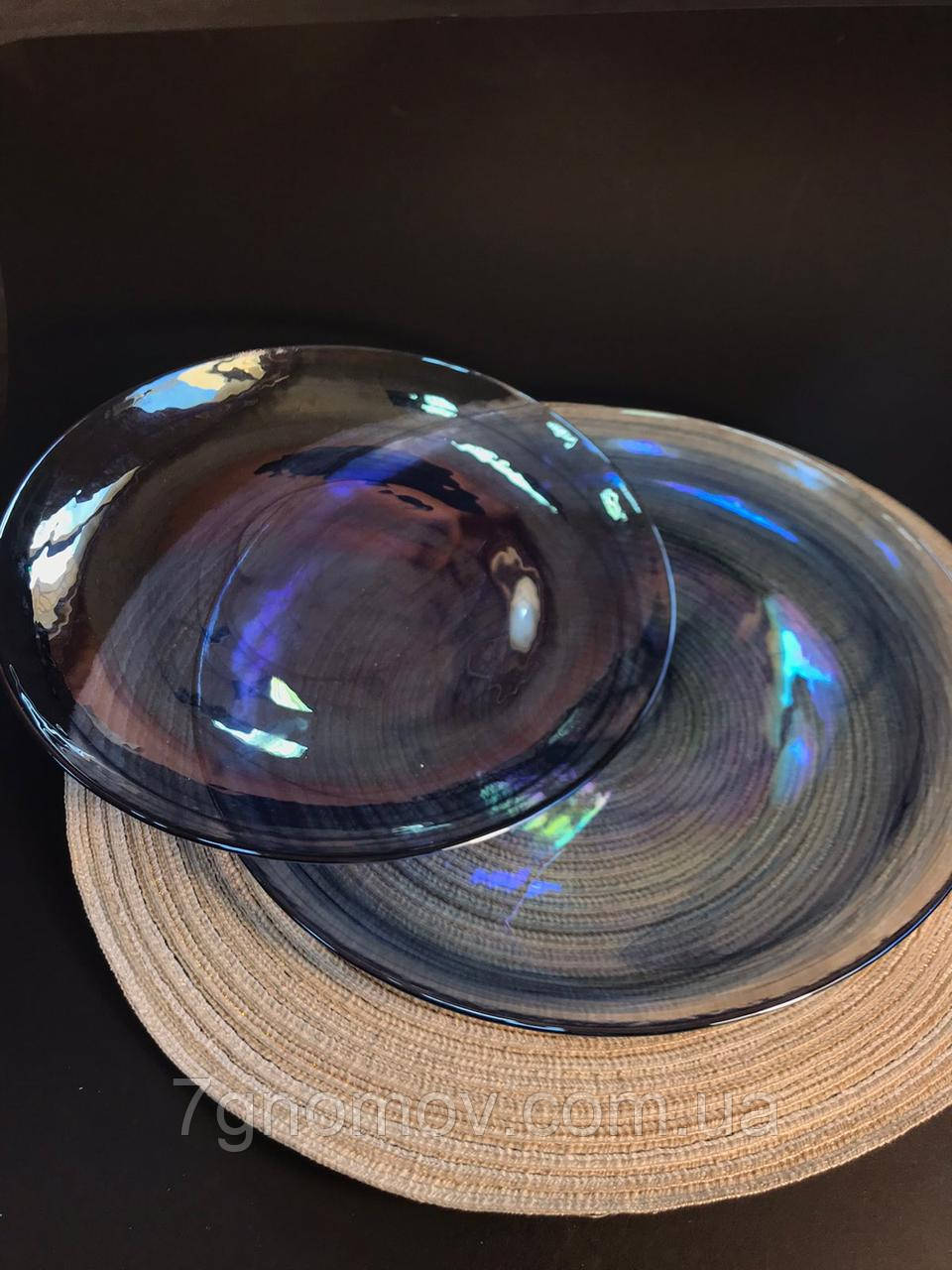 Набор 6 стеклянных обеденных тарелок прозрачно-синий Океан 27 см арт. 16112-14 - фото 4