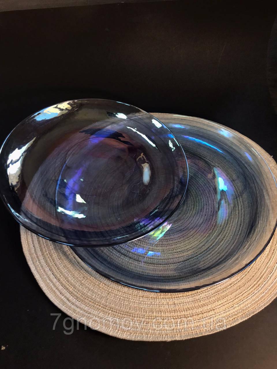 Набор 6 стеклянных обеденных тарелок прозрачно-синий Океан 27 см арт. 16112-14 - фото 6